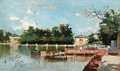 Vista del embarcadero del parque del retiro (view of the jetty in the retiro gardens, Madrid) By Joaquin Sorolla y Bastida ,1882