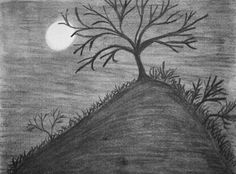 Original Drawing Charcoal Tree Upon On A Hill by MikeMBurkeDesigns, $5.00