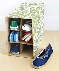 Warehouse your shoes in an empty wine-bottle carton wrapped in pretty paper.