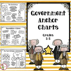 Government anchor charts for students constitution three branches also rh teacherspayteachers Branches Of Government, Homeschool Math, Title Page, Anchor Charts, Constitution, American History, A Table, Students, Learning