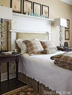 That looks like an old chippy wood mantel for a headboard.  O'More College of Design Showhouse | Traditional Home