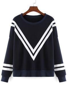 Women Striped Loose Navy Sweatshirt