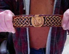 Cuff / Bracelet / Leather / Full Moon, Wolf / Wrist Band / Men / Women / Hand Carved and Tooled / Custom  / Timber Wolf / Celtic / Norse