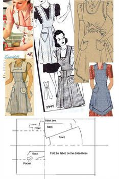 pinny instructions by *Janes-Wardrobe More Cant find instructions Apron Pattern Free, Vintage Apron Pattern, Aprons Vintage, Vintage Sewing Patterns, Clothing Patterns, Sewing Aprons, Sewing Clothes, Dress Tutorials, Sewing Tutorials