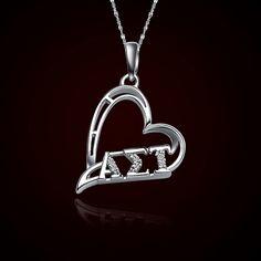 Alpha Sigma Tau Sorority Heart Charm