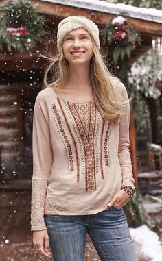 Geometric Notions Top - soft, cotton slub embroidered top is embellished with sequins, beads, geometric stitchwork and lace at sleeves.