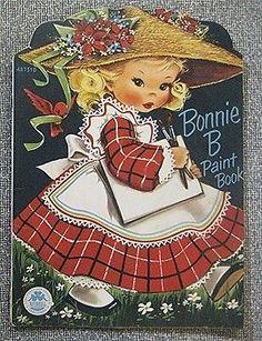 RARE! Vintage Bonnie B Paint Book #487510 1952 Activity/Coloring Book