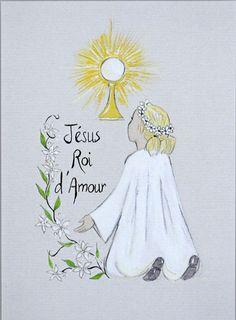 Carte de Communion Communiante Jésus Roi d'Amour