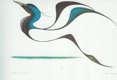 Cultural Background: Cree from Pas Reserve Manitoba Isaac Bignell was a Cree painter, born in 1958 on the Pas Reserve, 400 miles north of Winnipeg … Geometric Tattoo Arm, Abstract Tattoos, Watercolor Tattoos, Abstract Watercolor, Loon Tattoo, Tattoo Ink, Arm Tattoo, Bird Painting Acrylic, China Painting