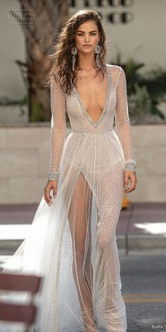 berta spring 2019 bridal long sleeves deep v neck full embellishment high slit skirt sexy soft a line wedding dress keyhole back chapel train (8) lv -- Berta Spring 2019 Wedding Dresses | Wedding Inspirasi #wedding #weddings #bridal #weddingdress #bride ~