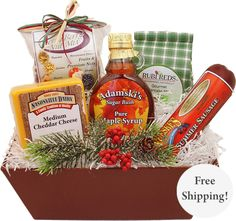 Wisconsin's favorite gifts with Maple Syrup, Gourmet Pancake Mix with Sweetened Dried Cranberries, Door County Cherry Berry Nut Mix, Wisconsin Cheddar Cheese by Nasonville Dairy and Neuske's Smoked Garlic Summer Sausage make the best gift basket.
