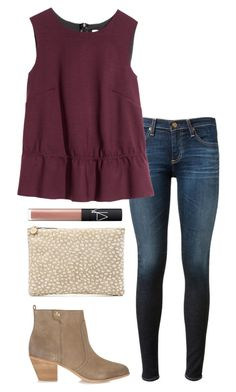 """""""ootd"""" by kcunningham1 ❤ liked on Polyvore featuring AG Adriano Goldschmied, H&M, Clare V., NARS Cosmetics and Tory Burch"""