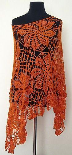 Sunny Tangerine Poncho Free Crochet Pattern