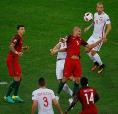 #EURO2016 Pepe of Portugal in action during the Euro 2016 quarterfinal football match between Poland and Portugal at the Stade Velodrome in Marseille France on...