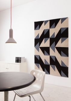 Blue black and natural white Fair Trade Traditional Nepal Rug Carpet  geometric Pattern :  Patternity