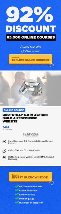 Bootstrap 4.0 In Action: Build A Responsive Website Programming Languages, Development  Guide to create a mordern responsive website using HTML, CSS and Bootstrap Bootstrap 4.0 is a popular framework that is written and compiled using HTML, CSS and JavaScript. If you decide to design and create a modern and responsive website then Bootstrap 4.0 is the best option available. Therefore, in this cour...