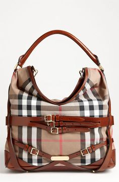 Burberry 'House Check' Hobo $1,295.00 Dark Tan