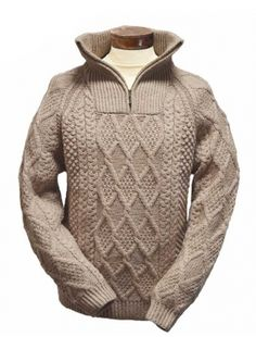 Handknit Cable Knit Troyer Sweater