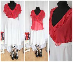 Vintage Blouse  Red  1990 90s  Elegant  With Frills  Blouse  Fashion  M Medium Summer Blouse  Transparent