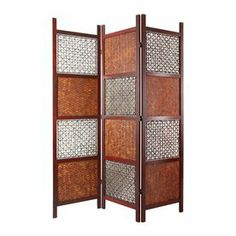 Awesome Oriental Furniture 3 Panel Mahogany Folding Indoor Privacy Screen