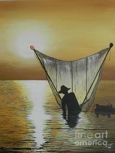 Fisherman - painting by Merrin Jeff fineartamerica.com #fisherman #netcasting #wallart The World's Greatest, Paintings For Sale, Beautiful Artwork, Fine Art America, Original Artwork, Fine Art Prints, Artists, Wall Art, Outdoor Decor