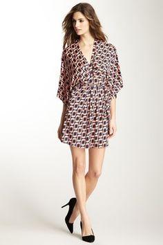 Julie Brown Graphic Print Kimono Sleeve Wrap Dress
