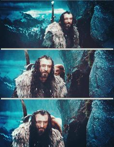 You can see such a relief flood Thorin's face when he realizes Fili and Kili weren't killed...