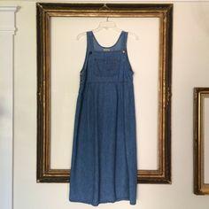 Vintage 1990's Denim Jumper Dress + Suspender Overalls + Medium on Etsy, $34.45