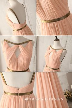 Flowy Peach Chiffon Unqiue Sleeveless Floor Length A-line Bridesmaid Dress Impressive pleats on sleeveless bodice leaving sexy cutouts, thin gold ribbon with natural waist, floor length A-line skirt flows to floor. Vintage Bridesmaid Dresses, Peach Dress Bridesmaid, Peach Dresses, Formal Dress Patterns, Dress Sewing Patterns, Formal Dresses, Pretty Dresses, Beautiful Dresses, Woman Clothing