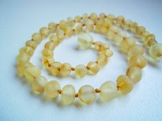 Raw Unpolished Light colour Baltic Amber Baby Teething Necklace. Maximum pain relief.