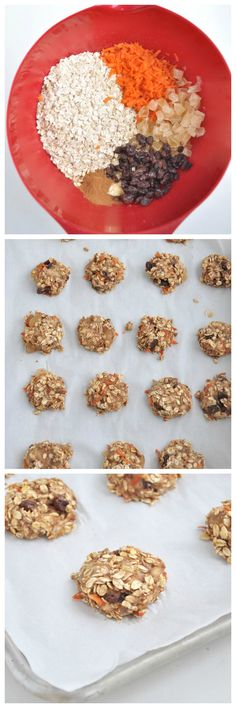Have carrot cake for breakfast with these Carrot Cake Breakfast Cookies. They taste like dessert and they are healthy. Vegan and gluten free. Whole Food Recipes, Snack Recipes, Cooking Recipes, Breakfast Cookies, Breakfast Recipes, Snacks Saludables, Carrot Cake, Carrot Cookies, Cookies Vegan