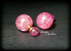 Pinke Perlen DoppelPerlen Ohrstecker von byschmuckesLaedchen