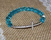 Light Blue Crystal Silver Rhinestone Sideways Cross Bracelet for Modern Style, Layering, Teens, Faith, Mother's Day, Easter, & Communion