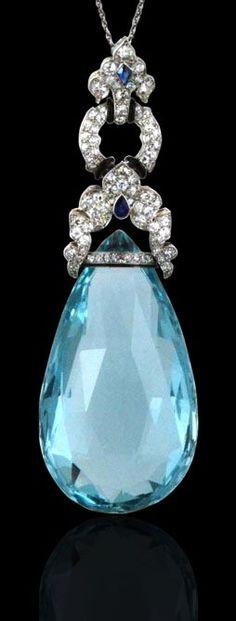 MARZO, Paris irca.1925 Briolette aquamarine, diamond, sapphire, and black enamel pendant.