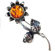 Sterling Silver Amber Sunflower Brooch Graciana. $14.98. All amber jewelry designs are from Eastern Europe