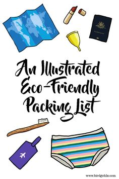 Here are some eco-friendly items you should pack the next time you go travelling, from clothing, to toiletries and everything in-between. /Sustainable Travel / Packing Lists / Plastic-free Travel / Green Traveller / Eco-Friendly / via @birdgehls