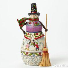 Jim Shore Winter Scene Snowman w Broom 4041078 Snow Man NEW
