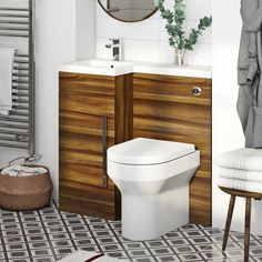 Orchard MySpace walnut left handed unit with contemporary back to wall toilet Contemporary Bathroom Furniture, Contemporary Toilets, Contemporary Design, Bathroom Storage Units, Cupboard Storage, Coral Door, Coral Bathroom, Concealed Cistern, Back To Wall Toilets