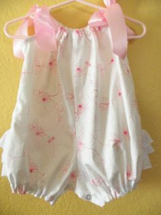 Baby Girl Romper Off White and Pink Floral by mariahcreations, $24.99