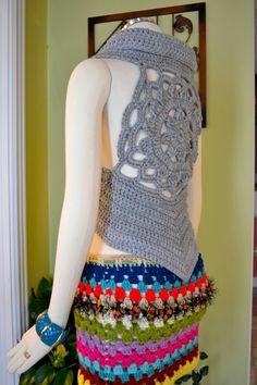 My Fashion Lotus Gypsy Hippie Pixie Vest Sweater by OrawanCrochet, $69.99