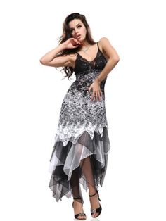 Ever Pretty Women's Captivate Lace Long Dress Size S Black and White 6212BWH08