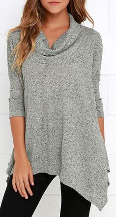 Up Close and Cozy Heather Grey Oversized Top