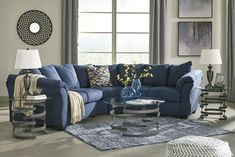 Darcy Blue Sectional from Ashley Blue Couch Living Room, Living Room Color Schemes, Blue Sectional, Small Living Room Design, Living Room Decor Apartment, Living Room Interior, Sectional Living Room Decor, Living Room Grey, Living Room Sectional