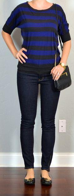 наряд сообщение: синий и черный полосатой рубашке, тощие Rockstar джинсы, черные квартир, черный крест мешок тело