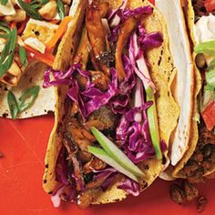 Beer-Braised Chicken Tacos with Cabbage Slaw recipe  | CookingLight.com - these were good, but need a kick next time.