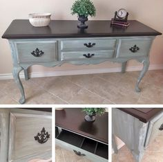 """""""I AM IN LOVE ❤️ with General Finishes products! As much as I don't want to let this go, it is For Sale! Top: GF Dark Chocolate, Base: Layered GF Persian Blue, GF Van Dyke Brown Glaze, dry-brushed GF Antique White & sealed with GF High Performance Top Coat."""" - Kristi Lynn Collection"""