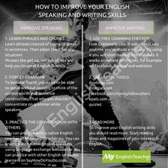 Discover the best resources, websites, tools and ideas that will quickly improve your English speaking and writing skills! Read more. Improve English Writing, Improve English Speaking, Improve Your English, Teaching English, Learn English, Study Skills, Writing Skills, Writing Tips, Public Speaking Activities