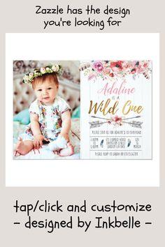 Shop Wild One Boho Birthday Girls birthday invite created by Inkbelle. First Birthday Invitations, Pink Invitations, Invite, Girl First Birthday, Wild Ones, Watercolor Flowers, Girl Photos, First Birthdays, Custom Design