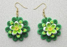 Etsy の Quilled Earrings Spring Colors by BarbarasBeautys