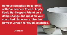 Remove scratches on ceramic with Bar Keepers Friend! Apply liquid Bar Keepers Friend on a damp sponge and rub it on your scratched dinnerware. Use the powder version for tough scratches. House Cleaning Tips, Cleaning Hacks, Bar Keepers Friend, How To Remove, How To Apply, Water Damage, Clean Up, Clean House, Dinnerware